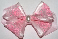 Sweet pink bow! Pale pink sheer bow by mylittlebows on Etsy, $7.00