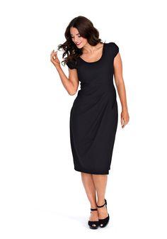 sheego Anna Scholz Kleid in raffinierter Wickeloptik - schwarz | Damenmode online kaufen