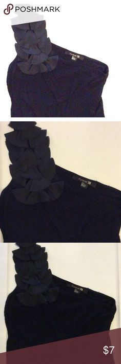One shoulder forever 21 party top Super comfortable one shoulder black top. The ruffles are still in perfect condition! Forever 21 Tops Blouses