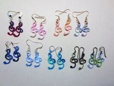 tatting patterns for beginners | ... large bunch of earrings made from Sherry Pence's Treble Clef pattern