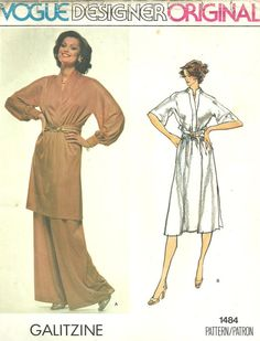 Vogue 1484 Couturier Design Sewing Pattern By Galitzine Dress Tunic Pants