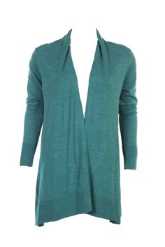 """""""Blue Assymmetric Hem Cardigan With Pintuck Detail At Back; Acrylic Viscose; 32.5"""""""" In Length"""" Outer Wear #Clothing #Fashion #Style #Wear #Colors #Apparel #SemiFormal #Casuals #W for #Woman"""