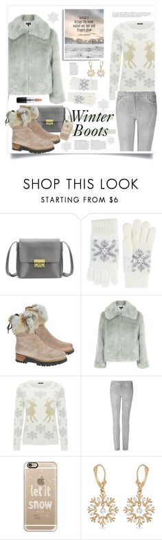 """Winter Boots"" by judysingley-polyvore ❤ liked on Polyvore featuring Fits, Overland Sheepskin Co., Topshop, M&Co, 7 For All Mankind, Casetify, Allurez, Anja, MAC Cosmetics and winterboots"