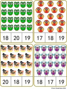 Owls Count and Clip Cards: Numbers by Sue's Study Room Numbers Preschool, Preschool Math, Teaching Math, Kindergarten Math Worksheets, Preschool Activities, Montessori Math, Math For Kids, Class Activities, Kids Learning Activities