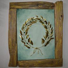 """Πίνακας """"Στεφάνι Ελιάς"""" Wood And Metal, Metal Art, Olive Wreath, Diy And Crafts, Arts And Crafts, Moon, Wreaths, Gifts, Painting"""