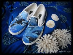What lurks beneath the waves. by Policide on DeviantArt Painted Vans, Aesthetic Shoes, Custom Vans, Diy Fashion, 500 Miles, June, Take That, Waves, Slip On