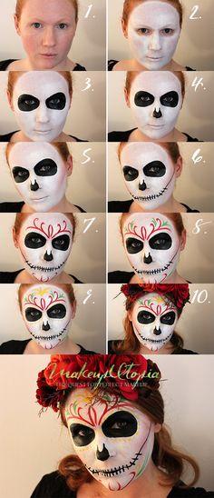 Makeup Utopia | Beginners Dia De Los Muertos Makeup Tutorial | http://makeuputopia.com sugar skull day of the dead makeup