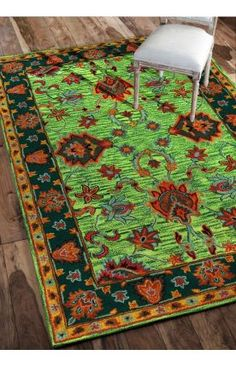 Overdye RE21 Green Rug | Traditional Rugs