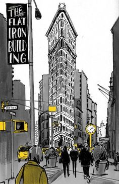 Kansas based illustrator Elizabeth Baddeley sketches a corner in New York City. Art And Illustration, Building Illustration, Illustrations Posters, Wallpaper Paisajes, New York City, Illustrator, Travel Drawing, Urban Sketchers, Architecture Drawings