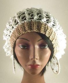 Crochet Hat/Earring Set, Mesh Crochet Hat/Earring Set, White and Tan Crochet Hat/Earring Set