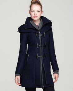 Mackage Steffy Flat Wool Coat with Toggle and Zip Off Hood