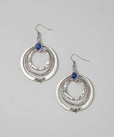 Look what I found on #zulily! Lapis & Silver Concentric Ring Drop Earrings #zulilyfinds