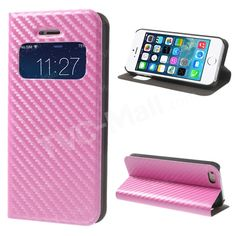 Carbon Fibre Window View Flip Leather Stand Case for #iPhone5s 5 - Pink