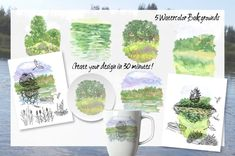 Excited to share the latest addition to my #etsy shop: Summer on the Lake. Sketches. clipart, landscape, nature, tourism, camping, travel, fishing, lake, boat, digital clip art, summer, tree, https://etsy.me/2urhg9X #art #drawing #green #housewarming #black #clipart #l