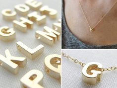 Tiny Gold Initial Necklace by Olive Yew from Suze Yalof Schwartz on OpenSky