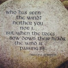 """Who has seen the wind? Neithet you nor I. But when the trees bow down their heads, the wind is passing by."" Christina Rossetti"