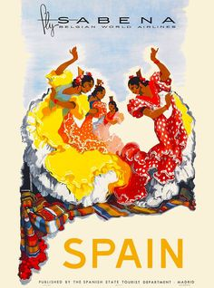 Spain Spanish Europe Sabena European Vintage Travel Advertisement Art Poster