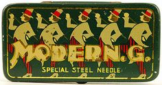 A gallery of Japanese gramophone needle tins with a theme of music and entertainment.