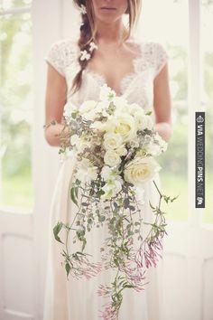 cascading white bouquet | CHECK OUT MORE IDEAS AT WEDDINGPINS.NET | #weddings #weddingflowers #weddingbouquets #bouquets