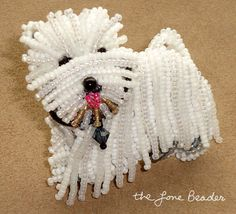 Beading Kit WESTIE bead embroidery dog pin or pendant by thelonebeader, $65.00