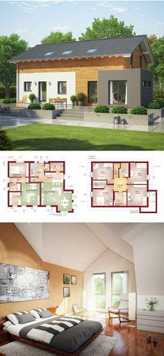 Modernes Einfamilienhaus mit Einliegerwohnung, Holz Fassade & Satteldach Architektur - Hausbau Ideen Zweifamilienhaus Grundriss Haus Evolution 207 V3 Bien Zenker Fertighaus - HausbauDirekt.de