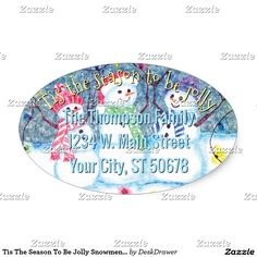 Tis The Season To Be Jolly Snowmen Address Label Oval Sticker.  Unique, classic, trendy, pretty and decorative group of smiling snowmen. Cute, funny and colorful December Holiday label with room to customize or personalize with family name and address of your choice. Image available on a variety of modern office products. Such as address labels, wrapping and tissue paper, gift tags, bags and favor boxes, stickers, ribbons, notebooks, binders, stationery and envelopes.