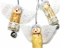 Artisan and Upcycled Jewelry Ornaments Gifts by BluKatDesign Etsy Christmas, Christmas Items, Christmas Angels, Wine Cork Ornaments, Angel Ornaments, Wine Bottle Charms, Champagne Corks, Angel Decor, Handmade Christmas Decorations