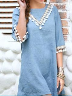 Featuring blue color & tassel details front and sleeve,the dress is fashion and lovely.Find our super stylish dress collection at Romoti.com