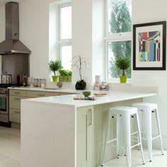 White and pale green kitchen peninsula | Kitchen decorating | Beautiful Kitchens | Housetohome.co.uk