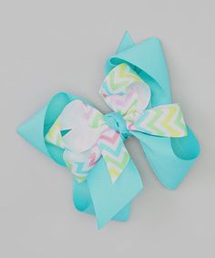 Blue Chevron Loop Hair Bow by Picture Perfect Hair Bows #zulily #zulilyfinds