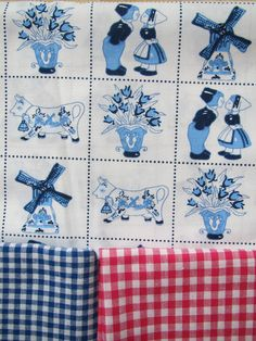 fabric with old Dutch paintings of windmills, wooden shoes, tulips and houses, the Netherlands.