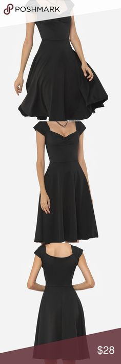"""Black Skater Dress 🍒 Sweetheart collar all black Skater Dress. This material has lots of stretch to fit your curves ♨️ Bust = 40"""" 🍒 Waist = 32"""" -34"""" Dresses Maxi"""