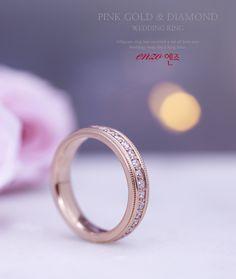엔조 핑크 밀그레인 결혼반지 - Enzo Pink milgrain wedding ring #결혼반지 #웨딩반지 #밀그레인 #핑크골드 #다이아몬드