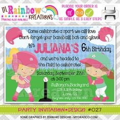 027 DIY Softball 3 Party Invitation Or Thank by LilRbwKreations