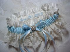 Vintage Ivory Garter with Embroidery Personalization