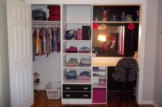 One huge wall closet turned into a great closet, shelves and desk area =)