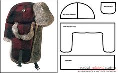 """Just this pattern no directions for this warm hat. Enlarge middle piece (upside down """"U"""") until fits around head (measure from temple to temple); then do the math. When cutting out faux fur - cut upside down & only the backing. Before sewing fur - electri Sewing Hacks, Sewing Tutorials, Sewing Crafts, Sewing Projects, Diy Crafts, Hat Patterns To Sew, Sewing Patterns, Hat Tutorial, Tutorial Sewing"""