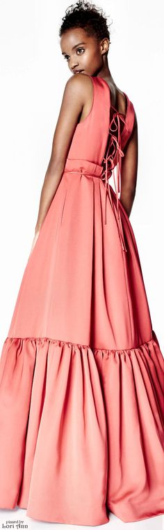 ZAC Zac Posen Pre-Fall 2016 coral  maxi dress women fashion outfit clothing style apparel @roressclothes closet ideas