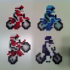 Excitebike Pixel Figures made with Perler Beads. Blue and Purple Wheelie Bikers are not pictured but are available for purchase. Perler Bead Designs, Pearler Bead Patterns, Diy Perler Beads, Perler Bead Art, Perler Patterns, Pearler Beads, Fuse Beads, Diy Arts And Crafts, Bead Crafts