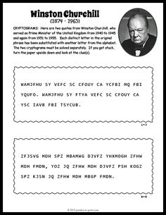 Crack the secret code and discover the quote in this engaging winston churchill cryptogram puzzle. Free for you to print and enjoy. Free Printable Puzzles, Free Printables, Dinosaur Worksheets, Math Activities For Kids, Teen Stuff, Word Puzzles, Winston Churchill, Brain Teasers, Crossword
