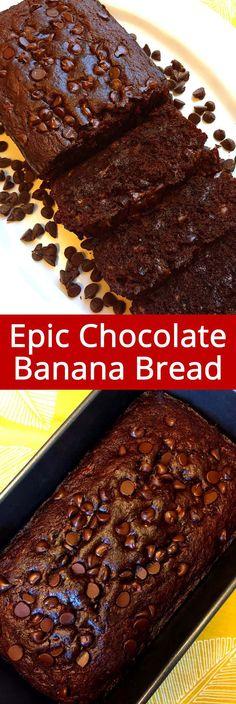 Easy Double Chocolate Banana Bread Recipe – Best Ever! This double chocolate banana bread is amazing! Dark chocolate banana bread with chocolate chips inside - yum yum yum! It turns out perfect every time! Double Chocolate Banana Bread Recipe, Chocolate Muffins, Healthy Chocolate, Chocolate Recipes, Chocolate Chips, Cocoa Chocolate, Chocolate Cupcakes, Chocolate Chocolate, Köstliche Desserts