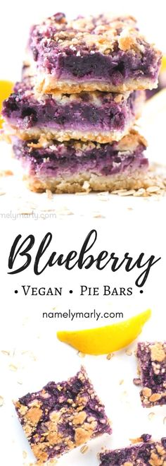 You're in for a special treat with these Blueberry Lemon Pie Bars. These tender, easy dairy-free bars boast a berry filling and a crumbly streusel topping. Say bye bye to that rolling pin and mixer — pie bars means no rolling out the crust! And look at ALL that sweet blueberry filling! Now that's a dessert to remember! #namelymarly #vegan #plantbased #blueberry #lemon #piebars #lemonbar #dessert via @namelymarly