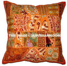 Indian Patchwork Pillow Cover Orange Bohemian Pillow Indian Cushion Cover Large Throw Pillow C Large Throw Pillows, Sofa Throw Pillows, Cushions On Sofa, Throw Pillow Covers, Floor Pillows, Outdoor Cushions, Outdoor Sofa, Tapestry Bedding, Wall Tapestries