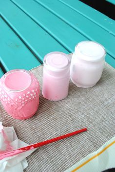 Beach Vintage: Project Day: Painting Glass Jars