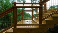 metal grid with wooden frame deck railing contemporary exterior