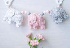 virkattu norsu vaunulelu Crochet Elephant, Baby Elephant, Knitting For Kids, Baby Knitting Patterns, Handgemachtes Baby, Nursery Bunting, Crochet Mobile, Handmade Baby Gifts, Some Ideas