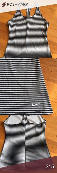 Nike workout tank Grey and black stripe dri-fit racer back tank.  Like new.  Size L but fits like a M. Nike Tops Tank Tops