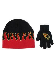 db656458cbd Look at this  zulilyfind! Black  amp  Red Flames Beanie  amp  Gloves