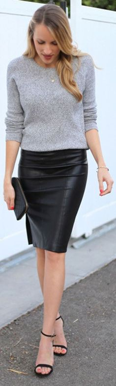 leather skirt with sweater