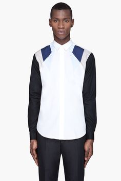 MUGLER White and blue Colorblocked Button up Shirt